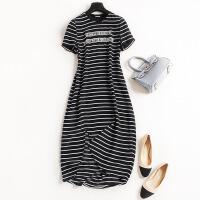 欧美时尚夏季新款圆领经典条纹减龄字母印花连衣裙修身长裙6646 黑色