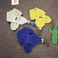 韩版冬百搭纯色小孩婴儿毛线围巾儿童保暖针织男女宝宝围脖潮秋天