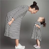 2018春季新款女童装连衣裙经典黑白条纹套头上衣宝宝百搭棉T恤潮
