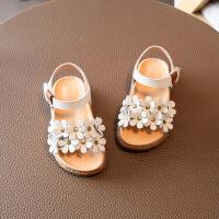 女童凉鞋真皮花朵软底夏天公主鞋子 宝宝沙滩鞋小童1-3岁百搭