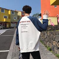 2018新款春季港风卫衣男字母印花拼色插肩袖韩版宽松休闲
