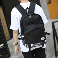 韩版潮流双肩包中大学生书包男青少年旅游帆布背包拼接时尚电脑包