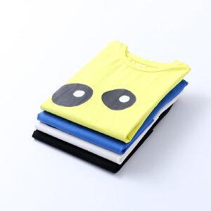 【尾品汇 5折直降】amii童装2017夏装新款男童印花短袖T恤中大童儿童圆领纯色上衣
