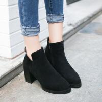 2017秋冬新款短靴女纯色尖头粗跟高跟裸靴时尚马丁靴