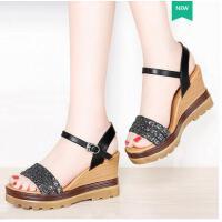 雅诗莱雅夏季新款时尚松糕鞋韩版百搭高跟夏天女鞋子厚底坡跟凉鞋女款YS-8964-1