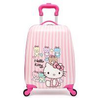 18寸儿童拉杆箱小孩苏菲亚万向轮旅行箱小学生卡通动漫行李箱 米白色 万向轮18寸花猫
