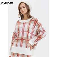 FIVE PLUS2019新款女冬装复古格子针织衫女宽松落肩长袖套头衫潮