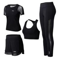 黑色性感网纱瑜伽服套装四件套 春夏运动跑步健身服女 显瘦速干 黑色四件套