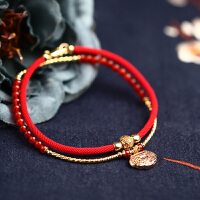 红绳脚链女古风性感平安锁手工编制民族风闺蜜情侣一对 醉丹霞【脚链】(双层)