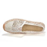 夏季新款亚麻鞋蕾丝女鞋镂空一脚蹬帆布鞋女单鞋平底懒人鞋网布