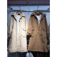 T4仿貂绒毛呢外套女中长款冬季新 加厚加绒保暖毛呢子大衣1.4