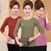 中老年女装针织衫秋冬新品圆领打底衫长袖上衣中年妈妈装纯色毛衣