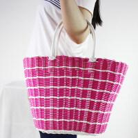 时尚挎包手提篮买菜篮编织收纳筐野餐篮购物水果礼品塑料藤编篮子