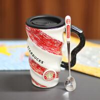 宿舍神器 创意杯子情侣水杯女生马克杯陶瓷杯咖啡杯带盖牛奶茶杯送男女友生日情人节礼物