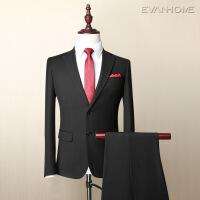 秋冬新款男士西服套装 修身免烫款商务职业西装外套 黑色两粒扣EVXF071