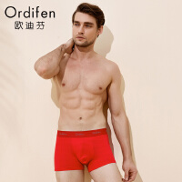 欧迪芬男士内裤2条装中腰平角裤 男短裤衩本命年红内裤头HK8502