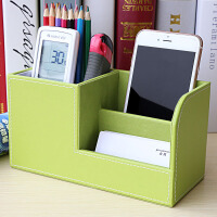 商务皮革笔筒创意时尚办公用品多功能桌面文具收纳盒学生彩色定制