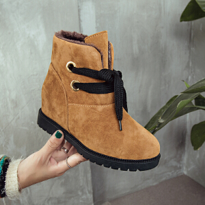 冬季新款加绒保暖女靴子雪地靴低跟内增高短筒女靴绒面圆头短靴