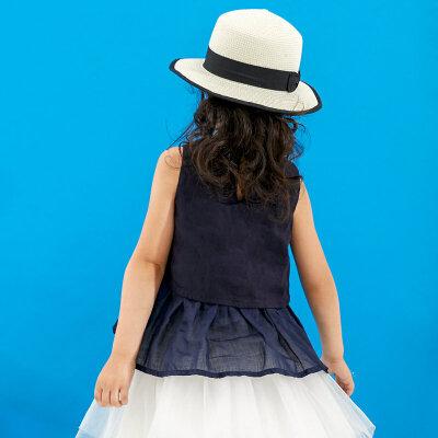 【尾品汇 5折直降】amii童装2017夏季新款女童无袖T恤儿童假两件宽松休闲棉麻薄背心