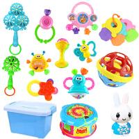 0-1岁婴幼儿摇铃3-6-12个月宝宝早教益智儿童手摇铃男女婴儿玩具 牙胶12件套+腰鼓+兔宝宝+收纳盒 +软胶球