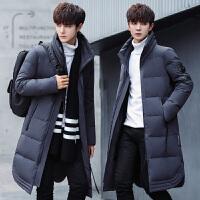冬季羽绒男士中长款修身中青年韩版冬装羽绒服外套潮