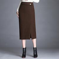 开叉包臀裙毛呢半身裙秋冬中长款高腰显瘦大码加厚一步裙呢子包裙