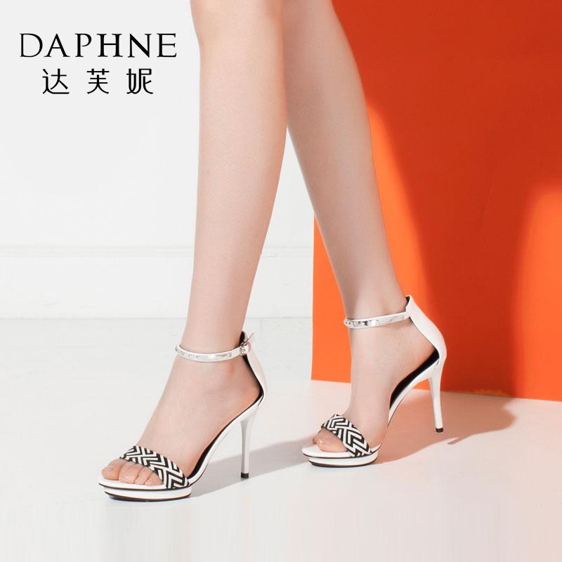 Daphne/达芙妮夏季新款女鞋 金属防水台高跟凉鞋女
