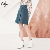 【25折到手价:69.75元】 Lily春新款女装商务通勤绑带半身裙纯色A型短裙118120C6221