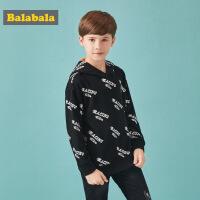 巴拉巴拉男童卫衣秋装2018新款中大童韩版印花连帽上衣潮学生外套