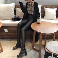 秋冬28新款韩版高腰亚光黑色PU皮打底裤女外穿紧身小脚铅笔裤潮 黑色