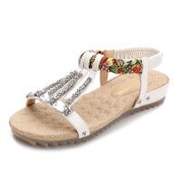 平底凉鞋2018新款女夏季韩版百搭防滑孕妇鞋子女士平跟波西米亚鞋