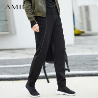 Amii[极简主义]酷感自在 拉链休闲长裤女 2017冬装新宽松哈伦裤子