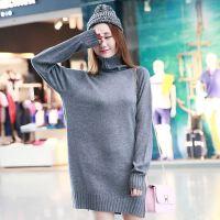 秋冬高领羊绒针织打底衫女长袖加绒加厚韩版修身黑色保暖T恤潮