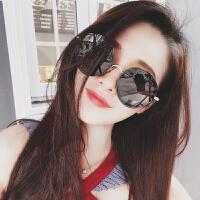 韩版冬季新款 黑色超大框复古金属边圆形网红墨镜女 潮男太阳眼镜 黑色预定 送镜盒