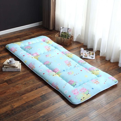 午睡垫子办公室单人地铺可折叠午休垫学生床垫宿舍儿童睡垫地垫 浅蓝 蓝佩琪加厚款8cm