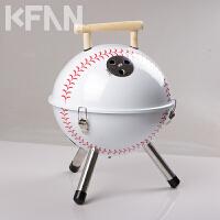 棒球形户外家用烧烤炉野外便携烧烤架不锈钢木炭烧烤炉子烤肉炉野餐炉小巧