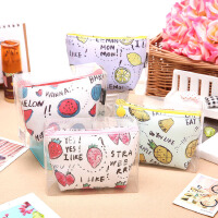韩国可爱水果布丁零钱包女迷你硬币包短款PU手拿包pvc盒精装