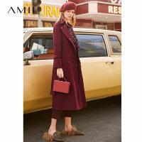 【预估价335元】Amii极简时尚帅气英伦风工装外套女2019秋季新款腰带修身风衣大衣