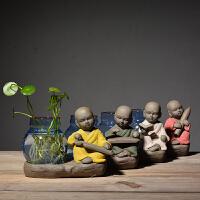 小玻璃花瓶 创意玻璃摆件和尚小花器家居装饰品茶桌绿萝花插花瓶陶瓷水培容器 彩砂陶-琴棋诗画一组