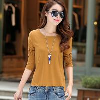 韩版秋季长袖t恤女打底衫秋装上衣服纯色外穿新款宽松短款棉体恤