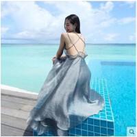 泰国女神连衣裙性感露背沙滩裙海边度假长裙仙吊带礼服裙中长款