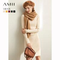 【到手价:129元】Amii极简气质通勤韩版修身连衣裙2019冬新款半高领显瘦纯色毛衣裙