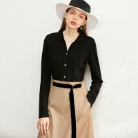 【到手价:140元】Amii洋气半开襟polo翻领针织衫女2020春新款长袖套头宽松外穿上衣
