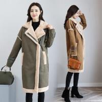 韩版皮毛一体麂皮绒大衣女中长款冬季内加绒加厚机车夹克毛呢外套