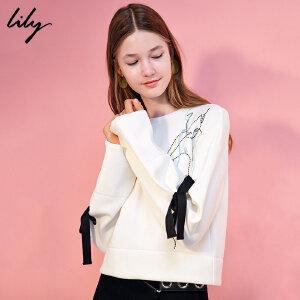 【每满200减100】Lily2018冬新款女装宽松落肩袖系带卫衣刺绣短款卫衣117440A8738