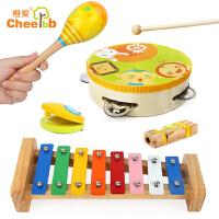 手鼓敲琴沙锤口哨响板木制玩具套装童年音乐启蒙五件套
