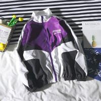 韩观ulzzang韩版原宿bf风嘻哈运动夹克ins帅气潮流紫色宽松情侣外套男 紫色 7076 夹克