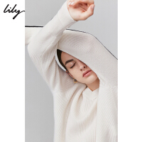 【羊绒衫】Lily2019秋新款女装撞色心机V领镂空宽松毛针织衫8924