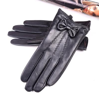 皮手套女冬真皮短款触控手套山羊皮手套可爱蝴蝶触摸屏手套真皮女