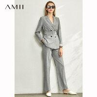 【到手价:252元】Amii极简气质小西装套装女2020春新款收腰显瘦洋气减龄裤装两件套